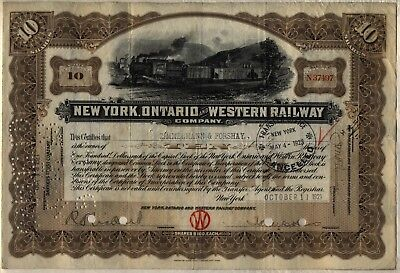 New York Ontario & Western Railway Company Stock Certificate Railroad