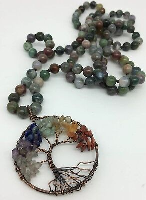 Fashion Long Knot Bloodstone Green Agate life tree pendant Necklace Handmade