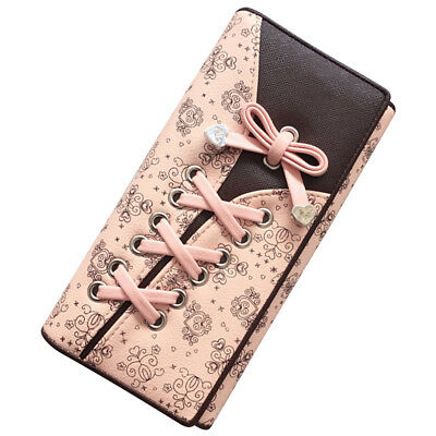 With Bandage Pink Tie Women's Wallet Clutches Purse Long Leather Cute Shoe Purse