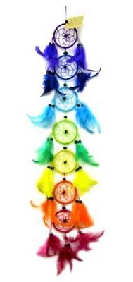 """Chakra Rainbow Colored 7-Layered Hanging Dream Catcher, with 3"""" Each Hoops"""