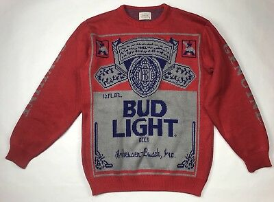 VINTAGE 80s Bud Light Budweiser Anheuser-Busch Beer Sweater Medium M Spuds USA