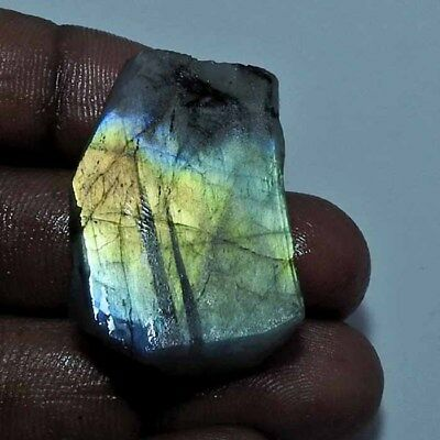 Charming~Natural Multi Flash Labradorite Slab Rock Rough Gemstone 21X32X10Mm.