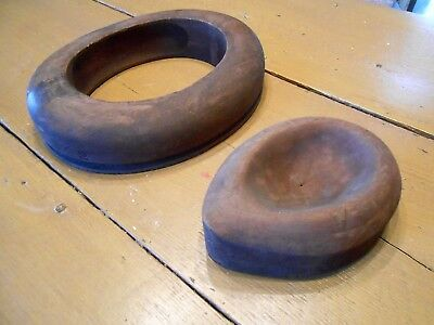 Antique MILLINERY Hat MOLDS Blocks 2 Pc's HATTERS Supply CHICAGO Sz 7 & 6 3/4