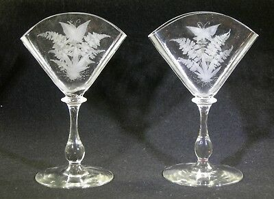 antique pair of butterfly etched glass serviette holders
