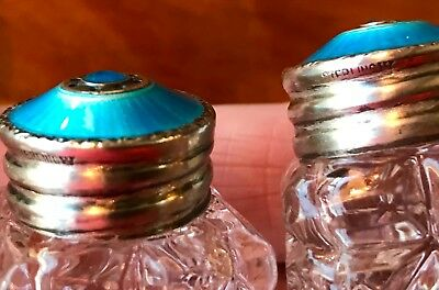 Sterling Silver Enamel Guilloche Top ~ Crystal Glass ~ Salt & Pepper 925S <2""