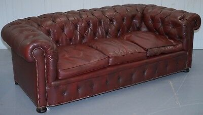 Restored Distressed Vintage Brown Leather Chesterfield Club Sofa Buttoned Tufted