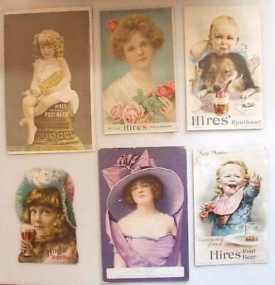 6 Antique Victorian Trade Cards Advertising Hires Root Beer Extract No Reserve