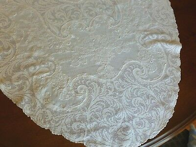 Exquisite Antique Appenzell Lace Linen Tablecloth Runner Triple Mono SRB