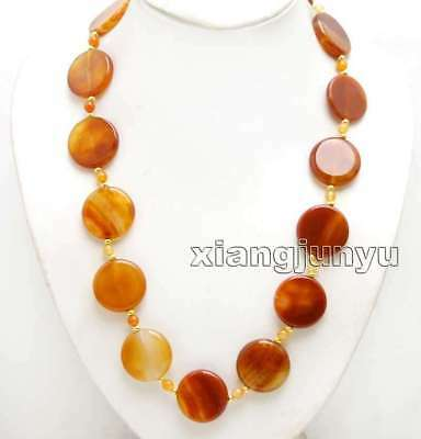 28mm Coin Round Natural Red Striped agate and 6mm Round agate 25'' necklace-6423