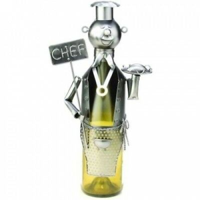 Metal Chef with Sign Wine Bottle Caddy and Holder. BigKitchen. Shipping Included