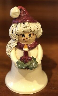 Rare NC Piney Woods Pottery Mrs. Santa Claus Candle Holly  2003 Collection JGM