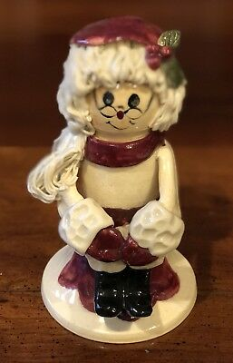 Rare NC Piney Woods Pottery Mrs. Santa Claus Sitting Holly 2005 Collection JGM
