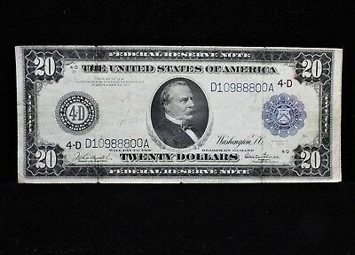 1914 $20 Dollar Bill Federal Reserve Large Note Blue Seal