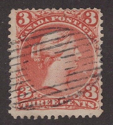 Canada used #25   minor RE ENTRY**  LARGE QUEEN 1868 FINE