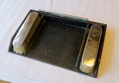 Vintage Sterling silver Mappin & Webb clothes brushes and comb in ebony tray