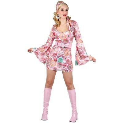 Retro Go Go Girl (Pink) - Adult Costume Lady: Med (UK:14-16). Wicked. Brand New