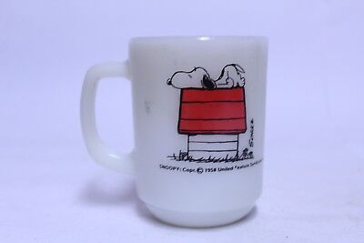Nice Vintage Fire King Snoopy Peanuts Allergic To Mornings Coffee Mug Cup