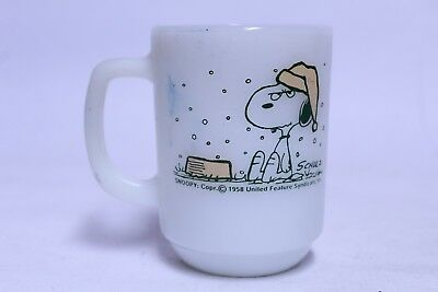 Vintage Fire King Snoopy Peanuts I Hate Snow On My French Toast Coffee Mug Cup