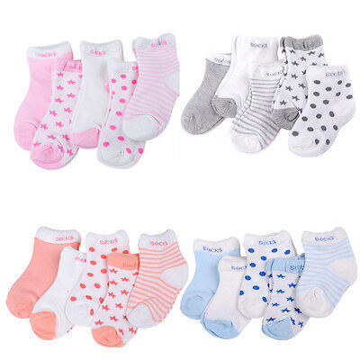 Fashion 5 Pairs Baby Boy Girl Cotton Cartoon Socks Toddler Kids Soft Sock  BLBD
