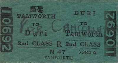 Railway ticket a trip from Duri to Tamworth by the old NSWGR in 1959
