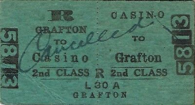 Railway ticket a trip from Casino to Grafton by the old NSWGR in 1958