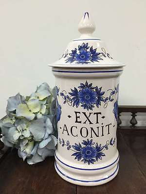 Vintage French Pharmacy Jar Saint Clement Apothecary Ext Aconit Christmas - L226