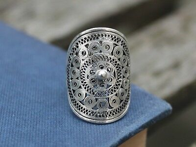 Ethnic silver filigree ring Unique Handmade Bohemian Gypsy ring Gift for her