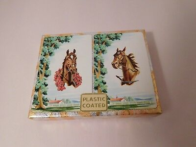 Artcrest Double Deck Playing Cards Horses Ranch Scene NEW by Whitman