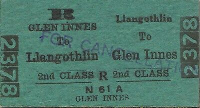 Railway ticket a trip from Llangothlin to Glen Innes by the old NSWGR