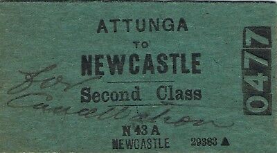Railway ticket a trip from Attunga to Newcastle by the old NSWGR