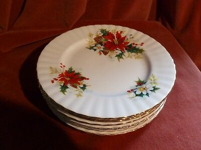 Royal Albert Poinsettia Plates (8ins) 7 available Christmas Festive Red/gold
