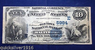 1882 $10 National Currency The Old Town National Bank of Baltimore 5984