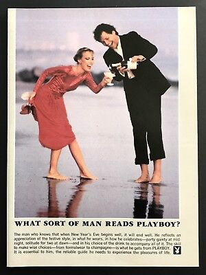 1981 Vintage Print Ad WHAT SORT OF MAN READS PLAYBOY Barefoot Champagne Beach
