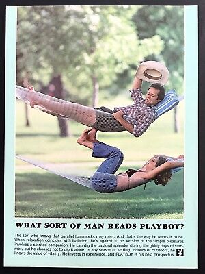 1981 Vintage Print Ad WHAT SORT OF MAN READS PLAYBOY Relax Hammock