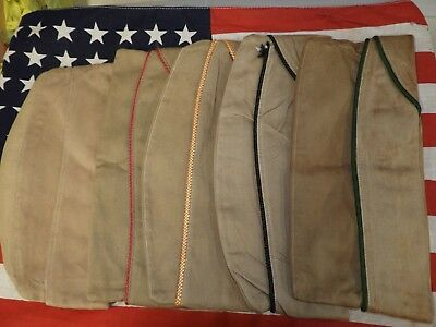 Original LOT of WWII US Army AAF Military Piped Garrison Overseas Cap Hats x 5
