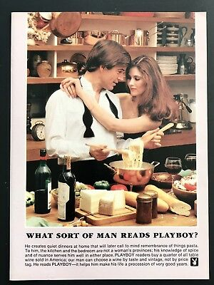 1981 Vintage Print Ad WHAT SORT OF MAN READS PLAYBOY Cooks Wearing Bow Tie