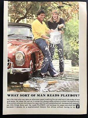 1981 Vintage Print Ad WHAT SORT OF MAN READS PLAYBOY Car Wash Water Fight