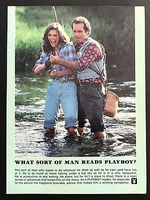 1981 Vintage Print Ad WHAT SORT OF MAN READS PLAYBOY Fishing Stream Date