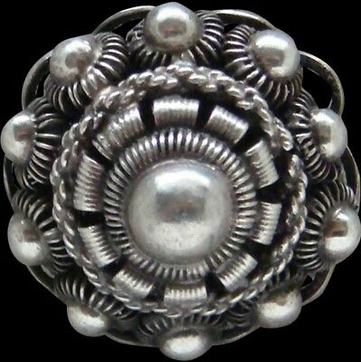 Antique 1800's Sterling Silver Princess Dome Brooch Beautiful Handmade
