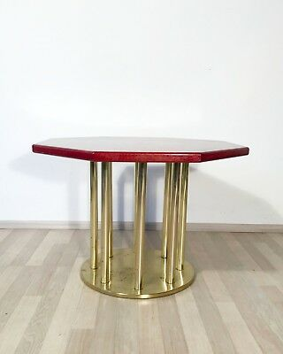 VINTAGE MODERNIST 1970s 1980s BRASS COFFEE TABLE SIDE TABLE PEDESTAL WOODEN TOP