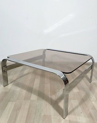 VINTAGE ITALIAN MODERNIST 1960s 1970s CHROME AND SMOKED GLASS TOP COFFEE TABLE