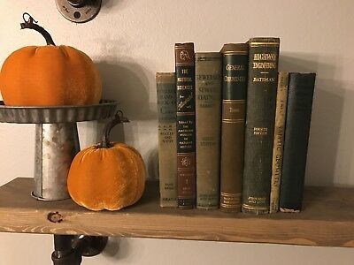 Antique Book Lot of 7 vintage Green Hardcover Decorative Accent Shelf Home Decor
