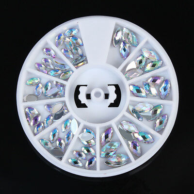 Nail Art Flat Back Oval AB Rhinestone Gems Charms Crystal 3D Decoraiton Wheel