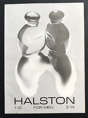 1981 Vintage Print Ad HALSTON Men's Cologne Bottle Image Reflection