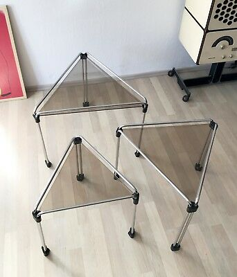VINTAGE MODERNIST 70s 80s CHROME WIRE SMOKED GLASS NESTING TABLES COFFEE TABLES