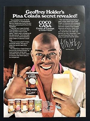1981 Vintage Print Ad COCA CASA Geoffrey Holder Holland House