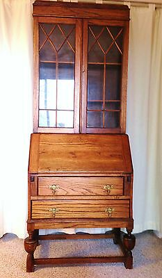 George III Antique Secretary Bookcase Desk 19th Century