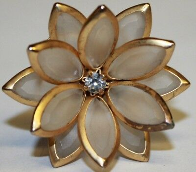 Gold Tone & Milky White Clear Glass Faceted Navettes Petals Cocktail Ring Flower
