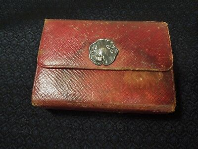Antique Red Leather w/ Sterling Silver Art Nouveau Closure Travel Jewelry Case