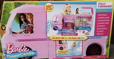 Pink Barbie Dream Camper Campsite PlaySet with Pool Brand New !!